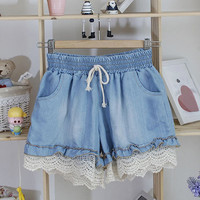 Light Blue Drawstring Denim Shorts