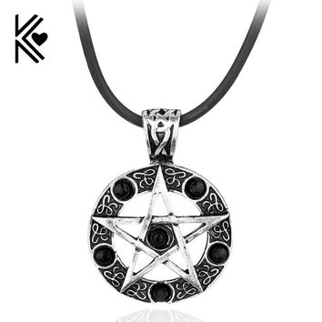 Europe America Supernatural Pendant Crystal Five-Pointed Star Amulet Statement Necklace Vintage Women Men Rope Leather Necklace