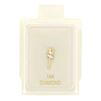 1.3mm Diamond Accent Nose Ring Straight Stud 22G in 14K Gold