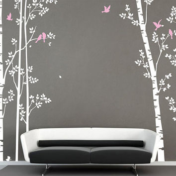 Birch tree wall decals trees vinyl decal wall sticker Tree with Flying Birds Baby nursery nature forest Office living room  bedroom decor