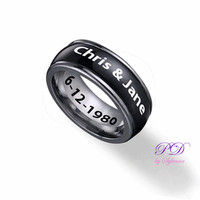 Spinner Ring for Him Black tone & Engraved Names and Date, Engagement Rings, Couple Rings, Together Rings, Rings For Mens