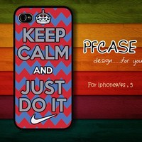 Keep clam and just do it nike with chevron : Case For Iphone 4/4s ,5