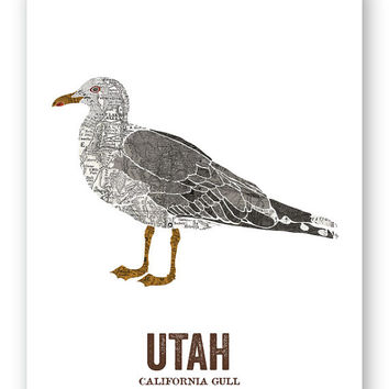CALIFORNIA GULL // Utah State Bird, Art, Nature Print, Vintage Map, State Poster, Rustic, Hippie, Outdoor, Country, Reproduction Print