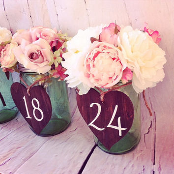 Rustic Heart Table Numbers Wood Heart Wedding Table Rustic Wedding Table Numbers Mason Table Table Numbers Mason Jar Centerpiece Numbers
