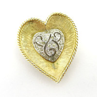 Vintage Panetta Heart Brooch, Pave Rhinestone Goldtone Pin