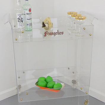 Lucite Lexan Frangelico Bar Cart Cocktail Tea Coffee Rolling Storage  Shelf Entertaining Decor Dining Table Mid Century Modern Living