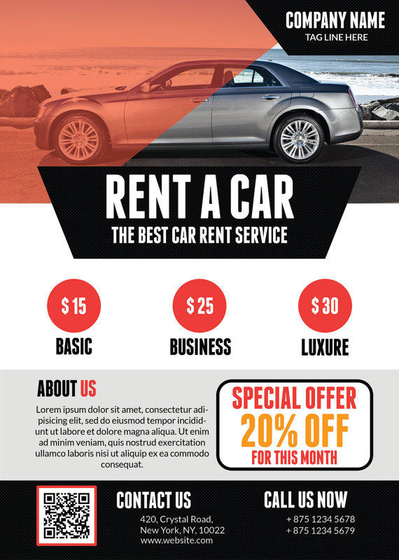 Rent A Car Flyer Template From QuickNickDesign  Car Flyer Template