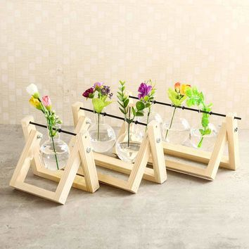 Desktop Glass Planter Bulb Vase With Classic Solid Wooden Stand And Metal Holder For Hydroponics Plant Home Garden Mini Decor
