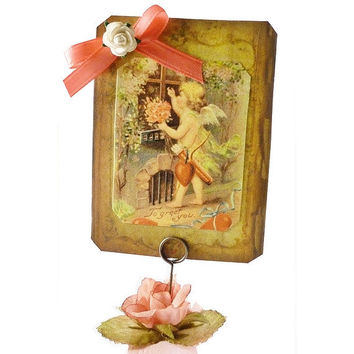 Valentine Assemblage Folk Art, Love Knocks, Victorian and Vintage Inspired Valentine,Valentine Mixed Media, Holiday Decoration