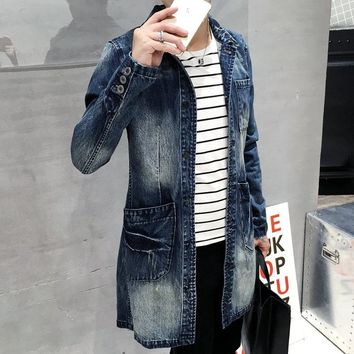 Denim Trench Coat Men Long Jacket Vintage Overcoat Men Slim Fit Windbreaker Turn-down Collar Jacket Single Breasted Trench Coat