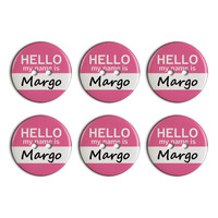 Margo Hello My Name Is Plastic Resin Button Set of 6