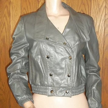 SALE- Vintage Bermans Leather Double Breasted Snap Jacket Gray S