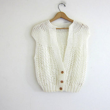 Vintage white Sleeveless Cardigan. Loose knit Sweater. Simple Boho Modern Sweater Vest.