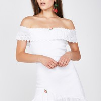 Bombshell Blossom Off-The-Shoulder Dress