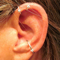 "2 No Piercing Captive Ball"" Helix Ear Cuffs & 1 Conch Captive Ball Cuff Handmade 3 Cuffs Silver Tone or 17 Color Choices"