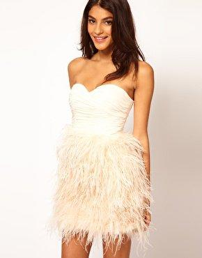 Opulence England Chiffon Bandeau Feather Dress at asos.com