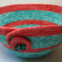 Handmade Coral and Teal Coiled Fabric Bowl, Fabric Basket