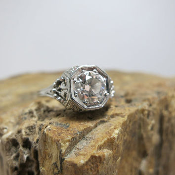 art nouveau filagree .85 carat diamond 18k white gold engagement ring
