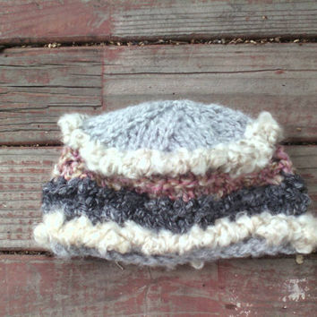 Chunky knit baby winter hat with crochet crab stitch edging