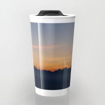 Mountain Range Silhouette Travel Mug by Mixed Imagery