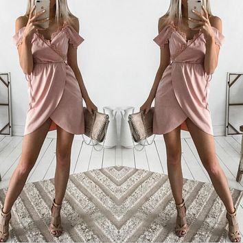 Ladies Spaghetti Strap V Neck Lace Mini Dress {}