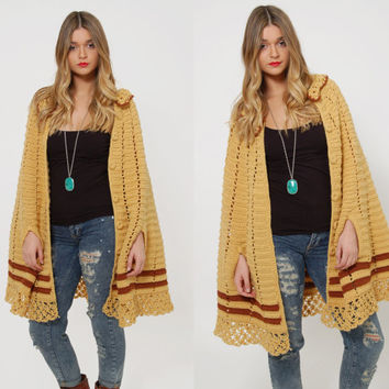 Vintage 70s KNIT Poncho BUTTERSCOTCH Striped Poncho Hippie Sweater Crochet Boho Cape