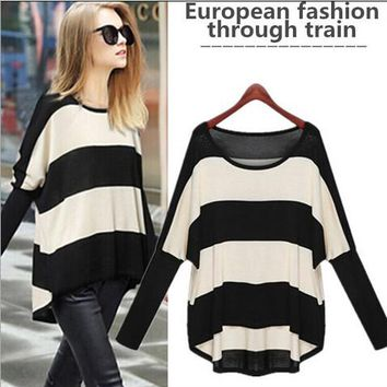 hot Women Loose jumper Spring Autumn Batwing Sleeve Striped Knitted Pullover Sweater poncho sudaderas Plus Size