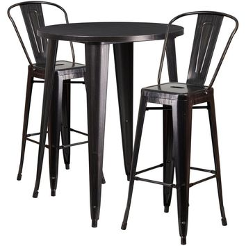 30'' Round Black-Antique Gold Metal Indoor-Outdoor Bar Table Set with 2 Cafe Stools [CH-51090BH-2-30CAFE-BQ-GG]