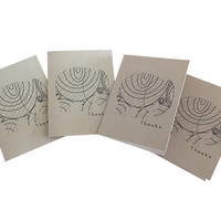 Thanks Notecard set of 4 with Envelopes and Inside Message. brown, black, elephant, thank you