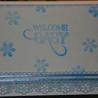 Handmade Baby Boy Card - Blue and White with Decorative Border Flowers | foreversmemories - Cards on ArtFire