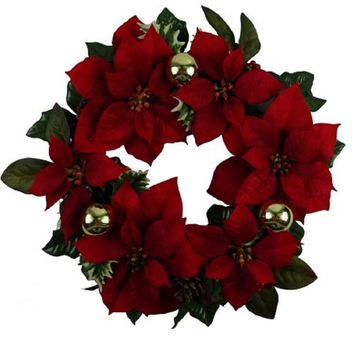 "Holiday Time Christmas Decor 18"" Red Poinsettia Wreath"