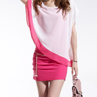 Pink and White Color Block Two Piece Short Sleeve Dress
