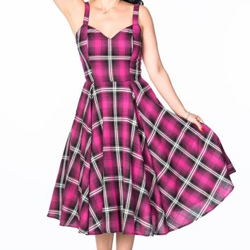 Vera Dress in Hot Rod Pink Plaid