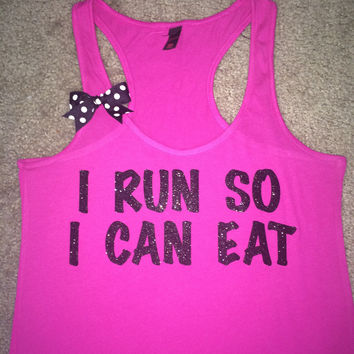 SALE - I Run So I Can Eat - Ruffles with Love - Womens Fitness - Workout Tank - Bow Tank