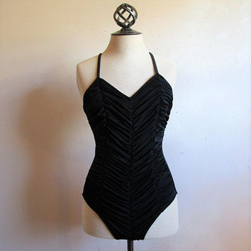 Vintage 1970s Sea Queen Swimsuit Black Gathered Ruched 70s High Cut 1 Piece Shirred Bathingsuit 10