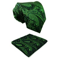 Paisley Dark Green Black Silk Necktie