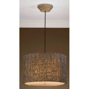 Uttermost 21105 Light Knotted Rattan Drum Pendant