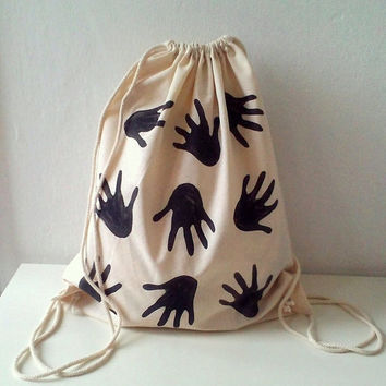 Hands printed Cotton Backpack, gemoetric modern drawnstring tote backpack