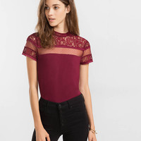 mock neck lace and mesh yoke tee