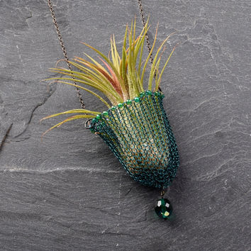 Air Plant Necklace - Wearable Planter, Wire Crochet Beaded Necklace, Living Jewelry