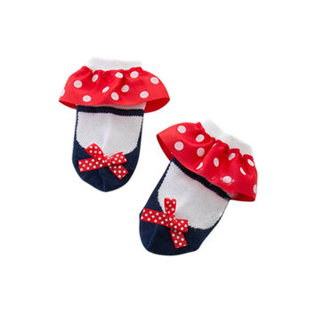 New Sweet Toddler Baby Socks Girl Slippers Dots Princess Lace Soft Cotton Short Socks S01