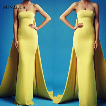Elegant Yellow Formal Dresses Straight Strapless Women Evening Dresses With Long Watteau Train Long Special Occasion Dress