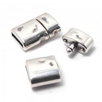 Silver color click clasp for flat leather, bracelet item, leather supplies