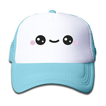 Cute Smile Kawaii Face Child Adjustable Snapback Mesh Hat SkyBlue