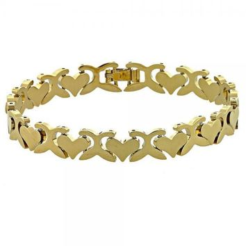 Gold Layered 5.032.009 Fancy Bracelet, Hugs and Kisses and Heart Design, Polished Finish, Gold Tone
