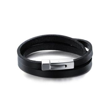 Wraparound Leather Band Bracelet with Titanium Clasp