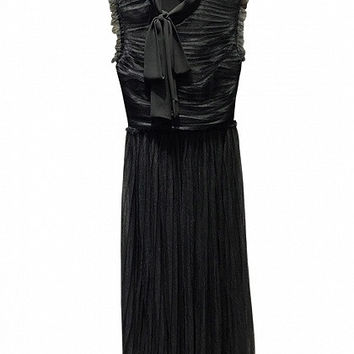 Black Ruffle Sleeveless Tie Neck Ruched Tulle Maxi Dress