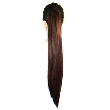 Claw Clip Long Straight Horsetail Wig dark brown