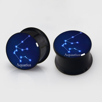 PAIR-Zodiac Sign Ear Gauges(Aquarius)- Steel Ear Gauges-Ear Plugs-Screw flesh tunnels Custom zodiacs
