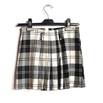 90s plaid school girl skirt mini short black white cheerleader skirt tennis skirt vintage 1990s xs s
